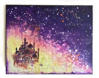 Arabian Nights original mixed media fine art painting, whimsical fairy tale, children's art
