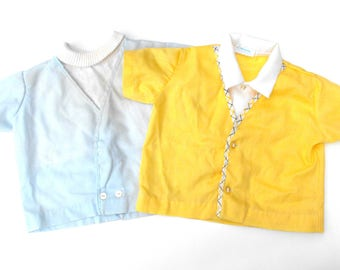 1950s Nannette Boys Shirt Set Vintage Pair Pale Blue White Ribbed Turtleneck & Canary Yellow Argyle Trim Collared Button Up Two Baby Shirts