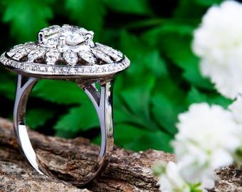 Avant Garde Sunflower Diamond Ring, 14K white Gold Big Ring, Marquize and Round Briliant Diamon Ring, Anniversary Ring, Multi Stone Ring