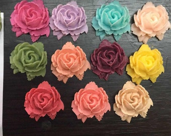 12 pcs of resin rose with leave cabochon 30x32x28m-RC0074-You can choose color