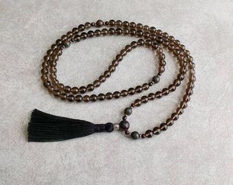 Smoky Quartz Mala Beads with Garnet and Jasper - Inner Strength & Motivation - Meditation - Crystal Mala - Tassel Necklace - Item # 802