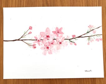 Cherry blossom watercolour painting, pink flowers, Japanese flowers, pink decor, pink blossoms, floral painting 10 x 7 inches, one of a kind