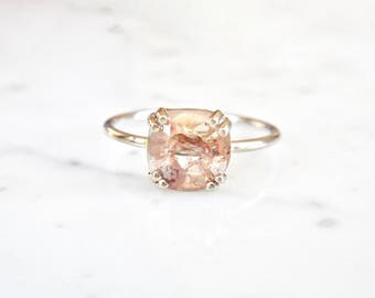 Rose Cut DiamondRing - Prong Set, 14 k White Gold, Square Diamond, Rose Cut, Engagement, Handmade, Rough Diamond, Red/Brown Diamond