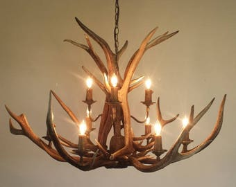 """NEWLY CRAFTED !!! 9-Light + Down-Light Elk Antler Chandelier (40"""" Wide X  27-28"""" Height)"""