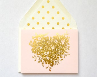 Blush card with Gold Whimsical Floral heart