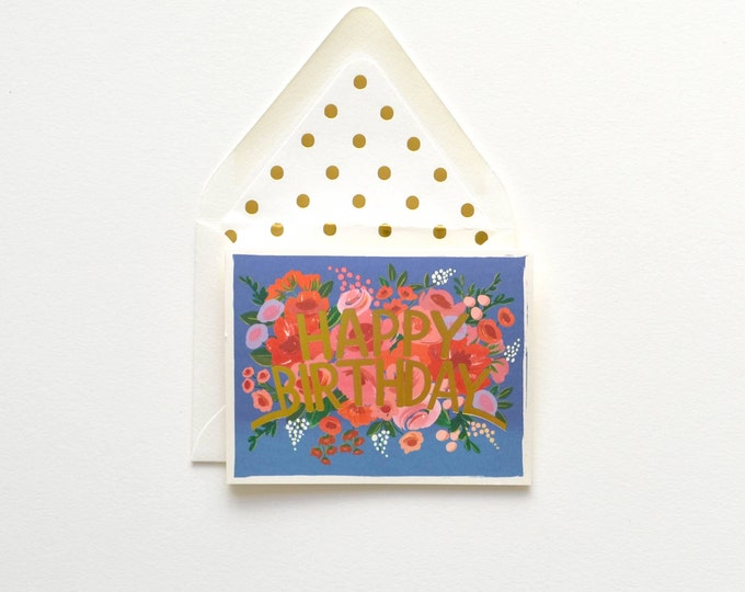 Blue Floral Happy Birthday Gold Card