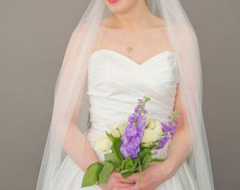Couture bridal veil, sparkly wedding veil with rhinestones, chapel length, crystals in soft tulle - Lana
