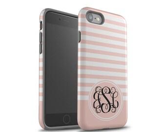 iPhone 8 Case, iPhone 7 Case, iPhone 6 Case, iPhone 8 Plus Case, Samsung Galaxy Case, Galaxy S8 Case, Pink Stripes, Monogram Case