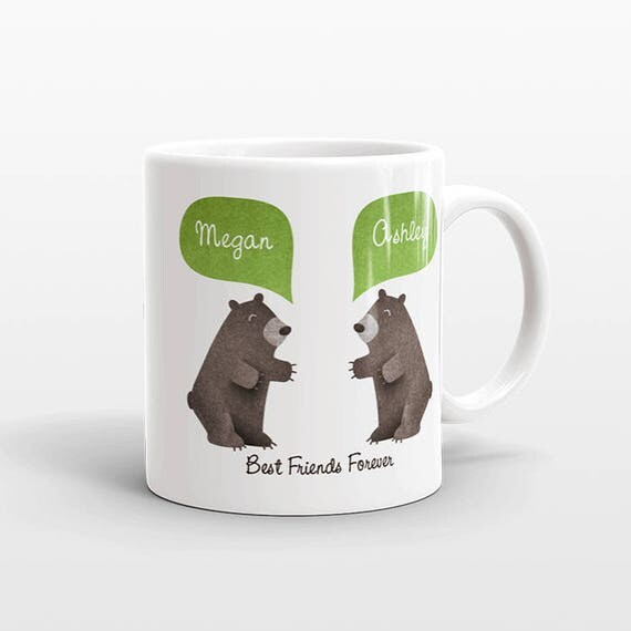 Best Friend Gift, Black Bear Mug, Personalized Best Friend Mug, Animal Best Friend Coffee Mug, Unique Friendship Gift, Friend Birthday Gift