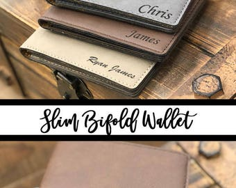 Personalized Bi-Fold Men's Slim Wallet, Mens Laser Engraved Wallet, Groomsmen Gift, Monogram Wallet, Gift for Men, Custom Wallet, Unique