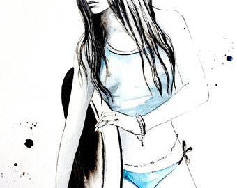 Surfer Girl Original Watercolor, Beach Home Decor, Black and Blue Wall Art, Modern Painting, Gift For Him, Surfing Poster, Original Painting