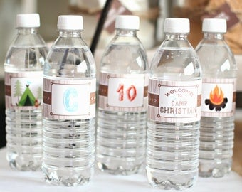 Camping Birthday WATER BOTTLE Labels/Camping Birthday Party/Boys Camping Birthday Party/Boho Party/Camping Party/Campout Water Bottle Labels