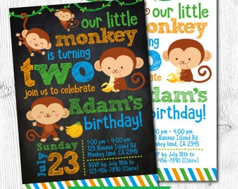 Monkey Birthday Invitation, Monkey 1st Birthday Invitation, Monkey Birthday Party, Jungle Birthday Invitation, DIGITAL, 2 Options