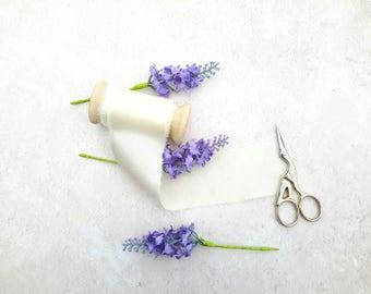"Pale lemon silk ribbon - hand dyed silk ribbon - 2"" wedding silk ribbon - 3 meters -"