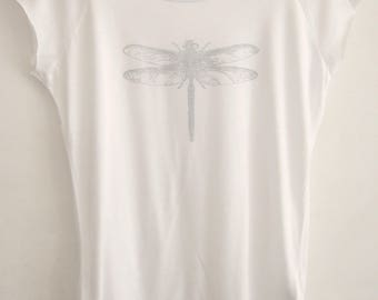 Silver dragonfly Womens white printed t shirt bamboo and organic cotton