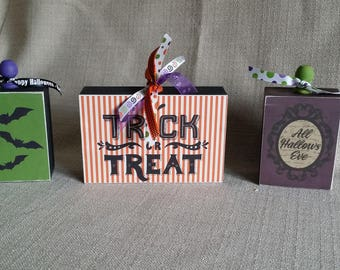 Wood Blocks, set of 3, home decor, wood sign, Fun Halloween Decor, Trick or Treat, All Hallows Eve, ready to ship