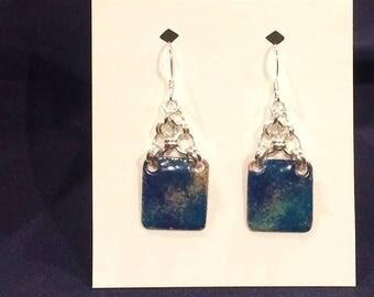 Enamel on Copper & .925 Sterling Silver Chain Maille Earrings