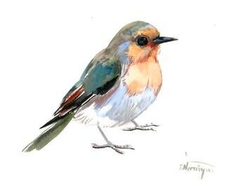 Robin, Original watercolor painting, bird lvoer art, robin painting, watercolor birds