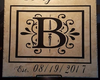 Personalized Wedding Tile, 12x12, Family Tile, Personalized Wedding Gift