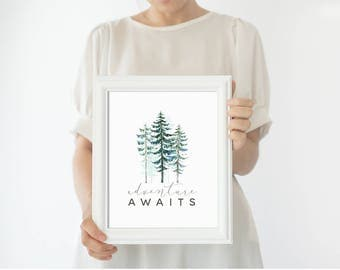Art Print - Buy One Get One Free - Adventure Awaits - Modern Woodland Nursery Art Print - Green Brown - Quote - Inspirational - SKU:1943