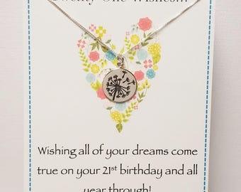 Twenty One Wishes Sterling Silver Dandelion Necklace 21st Birthday Gift Keepsake