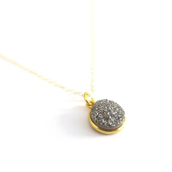 Tiny Gray Druzy Necklace