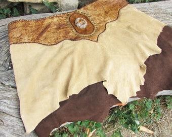 Tribal viking skirt, brown beige leather, gemstone, rivets and eyelets, medieval warrior skirt, wild womans costume, goddess primitive skirt