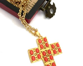 Kenneth Jay Lane Cross Necklace, Coral Resin Cabochons, Pierced Gold Tone Filigree Metal, Long Gold Chain, Vintage Pendant Necklace, Signed