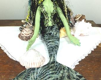 Art Doll-Countay the Mermaid OOAK Cloth Doll