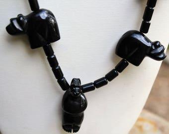 Native American Zuni Hand Carved Black Bear Fetish Necklace
