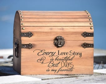 Every Love Story is Beautiful but Ours is my Favorite Personalized Wedding Card Box - Wedding Card Holder - Wedding Advice Box Wishing Well