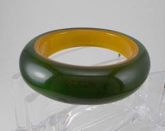 Large Dark Green and Amber Chunky Translucent Acrylic Bangle Bracelet  3255