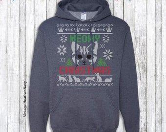 Meowy Christmas - Cat Ugly Christmas Sweater - Hoodie Sweatshirt