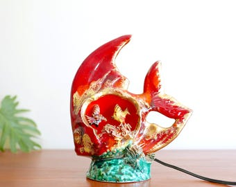 French ceramic fish lamp, souvenir from Vallauris , 1960s kitsch vintage red ceramics