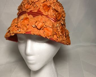 Vintage 1960s Orange Flower Pot Cloche, Bucket ,Lampshade  Hat