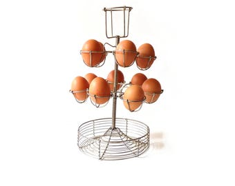 Vintage Wire Egg Holder French bistro Eggs Display Stand 1950s Kitchen Decor