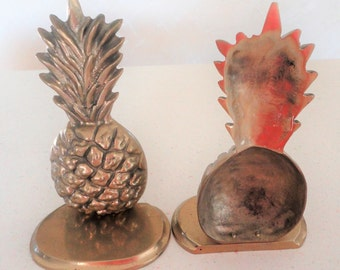 Brass Pair Pineapple Bookends Home Decor Vintage Collectible Solid Brass Welcome
