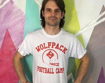 Wolfpack Football Camp NCSU North Carolina State University Vance Athletic Supply Sports Corner  Screen Stars T Shirt Tee L Large 1980s 80s