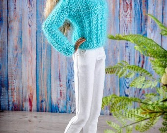 ELENPRIV hand-knitted light blue mohair pullover for Fashion Royalty FR2 and similar body size dolls