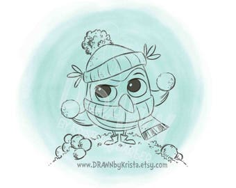 Snowball Fighting Owl,  Digital Stamp, Winter Stamps
