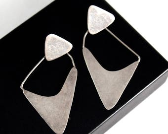 Modernist Sterling Earrings - Mid Century - Large Bold Shape - Mexican Mexico Taxco - 1960's