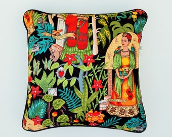 Frida's Garden , bright colourful Fokloric cushion cover . Noir background with Frida and her birds , monkeys flowers & greenlife. 50x50cm