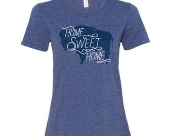 Wyoming Home Sweet Home - State Pride Womens Ringspun T Shirt - Heather Blue
