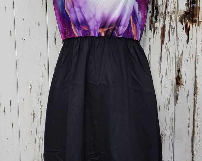 Purple Galaxy Unicorn Black Skater Dress - Size 10 12 14