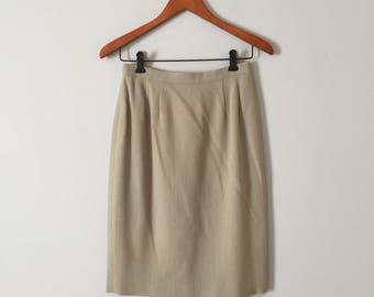 1970s wool pencil skirt // sea foam green pencil skirt