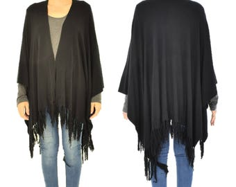 IM300SW poncho Cape fringed knit layered look black