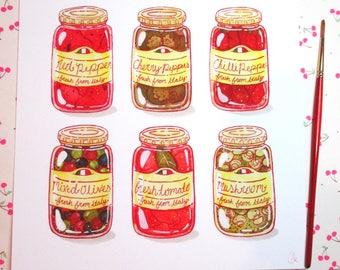 Antipasto Jars, Italian Food Art Print, Holiday Staples, Colorful Food Illustration