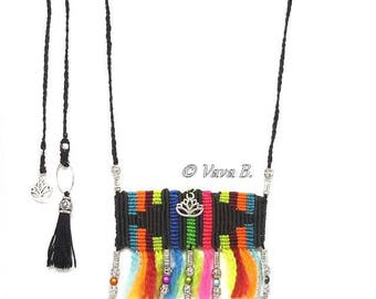 "Rainbow Moonstone necklace - hippie chic ""black, multicolored"" - C. 0195 REF."