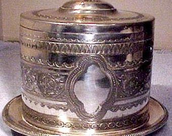 Victorian English Silver Plated Biscuit Caddy or Barrel Carved Finial 1880s