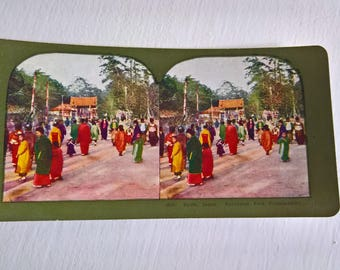 Maruyama Park Festival Japan Antique Stereopticon Stereoscope Stereo Viewer Slide Card --- Vintage Japanese Culture Asia History Photograph